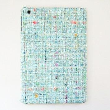 スマホの洋服屋 レインボーツィード ブルー iPad mini/2/3ケース_0