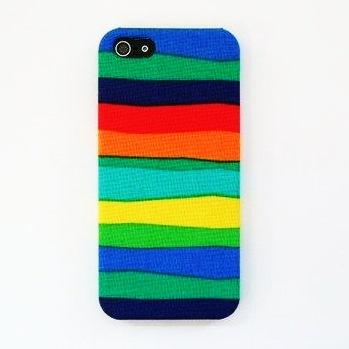 【iPhone SE/5s/5ケース】【iPhone5】スマホの洋服屋 虹色ボーダー_0