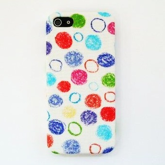 【iPhone SE/5s/5ケース】【iPhone5】スマホの洋服屋 クレパス水玉 ホワイト_0