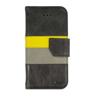 kuboq 本革手帳型ケース グレー/イエロー/ライトグレー iPhone 6ケース