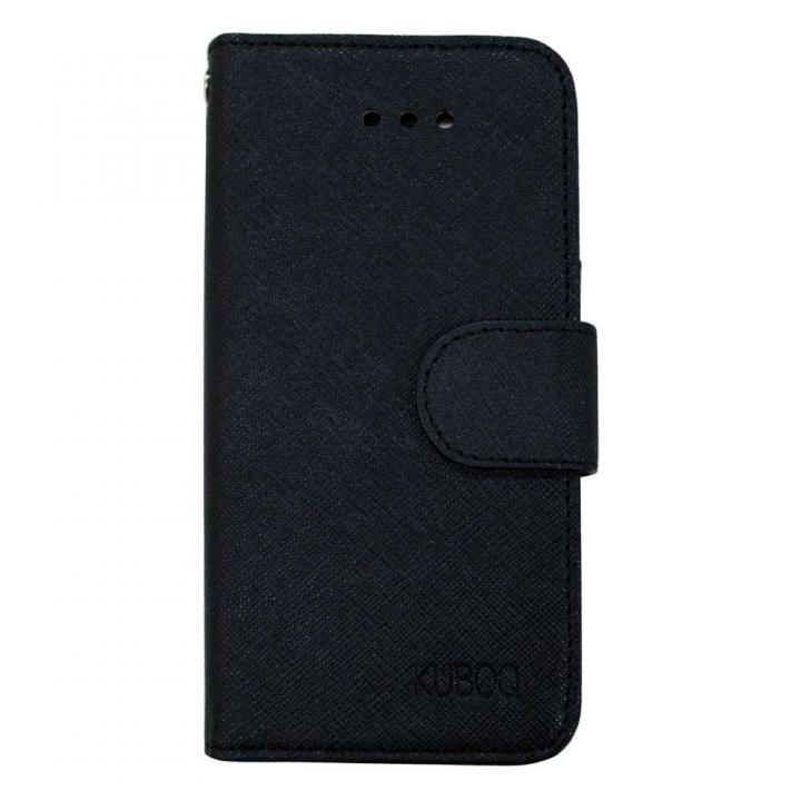 【iPhone SE/6s/5s/5ケース】kuboq 合皮手帳型ケース ブラック iPhone 6s/6ケース_0