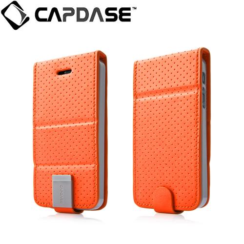 iPhone SE/5s/5 ケース CAPDASE iPhone SE/5s/5 用 Upper Polka オレンジ/グレー 手帳型ケース_0