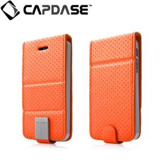 CAPDASE iPhone SE/5s/5 用 Upper Polka オレンジ/グレー 手帳型ケース