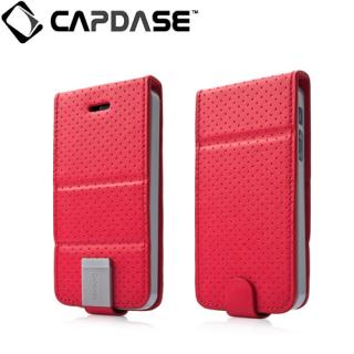 CAPDASE iPhone SE/5s/5 用 Folder Upper Polka レッド/グレー 手帳型ケース