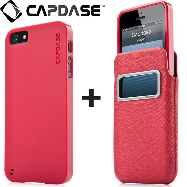 CAPDASE ID Xpose + Luxe XL Solid レッド/レッド  iPhone SE/5s/5ケース