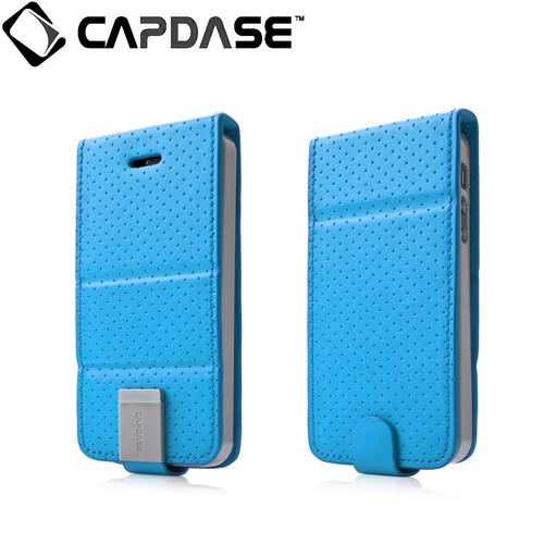 CAPDASE iPhone SE/5s/5 用 Folder Upper Polka ブルー/グレー 手帳型ケース