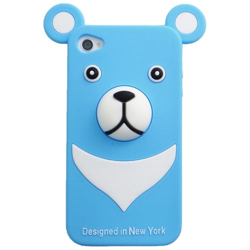 iPhone4s/4 Full Protection Silicon Bear, Blue