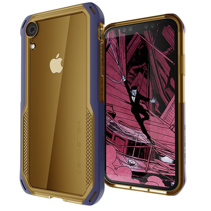 iPhone XR ケース クローク4 ハイブリッドクリア背面ケース ブルー iPhone XR_0