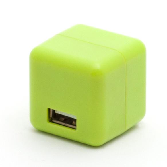 2.1A1ポートUSB充電器 100-240V海外対応 グリーン_0