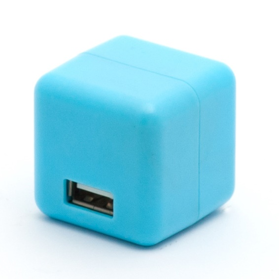 2.1A1ポートUSB充電器 100-240V海外対応 ブルー_0