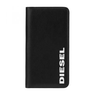 iPhone 11 ケース Diesel - 2-in-1 Folio Case Black Leather/White Vertical Logo iPhone 11