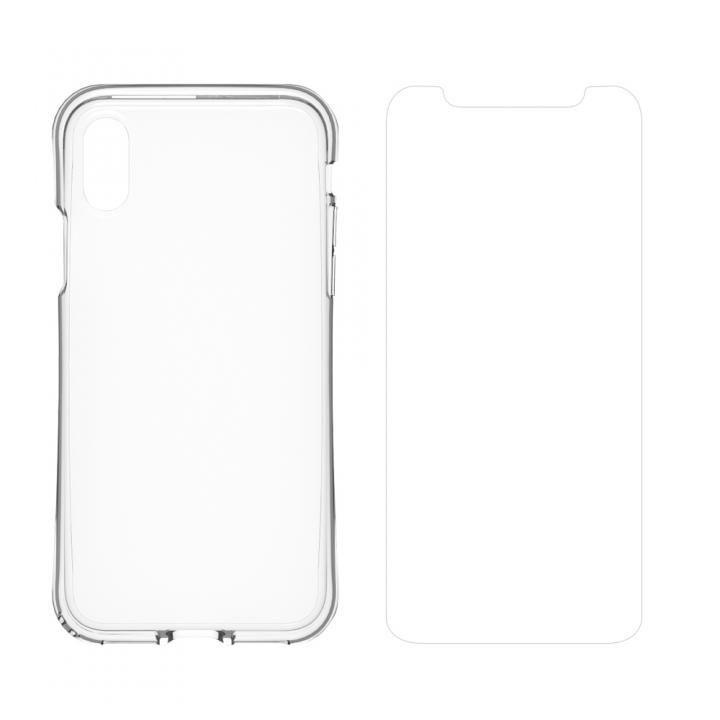 simplism 衝撃吸収フルカバーTPUケース&フィルムセット Aegis Grip Plus クリア iPhone X