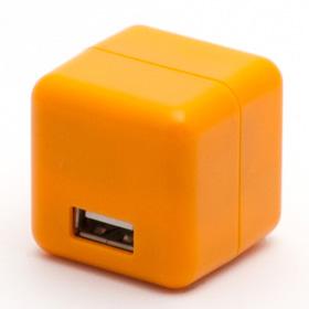 2.1A1ポートUSB充電器 100-240V海外対応 オレンジ