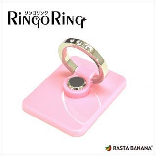 リンゴリング アクリル ラインストーン付き ピンク