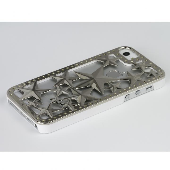 【iPhone SE/5s/5ケース】Metal case Glitter Star  iPhone SE/5s/5 Silver/White_0