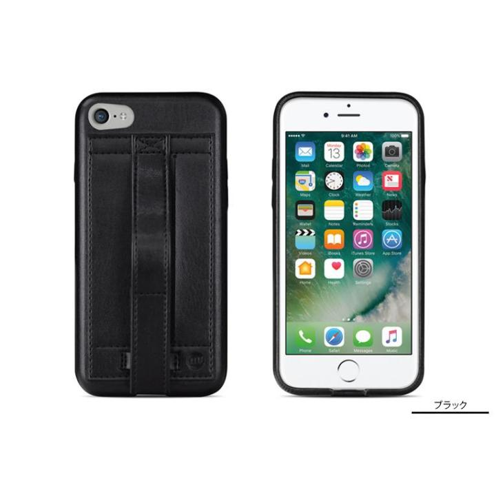 [8月特価]カードホルダー付きPUレザー製ケース Finger Grip ブラック iPhone 7