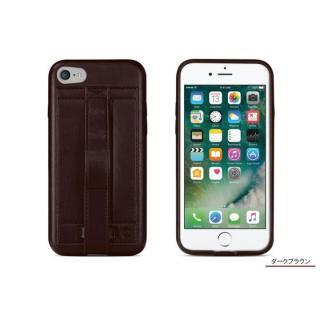 [8月特価]カードホルダー付きPUレザー製ケース Finger Grip ダークブラウン iPhone 7