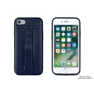 [4周年特価]カードホルダー付きPUレザー製ケース Finger Grip ネイビーブルー iPhone 7