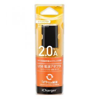USB電源アダプタ リバーシブルUSBポート 2A ブラック_1