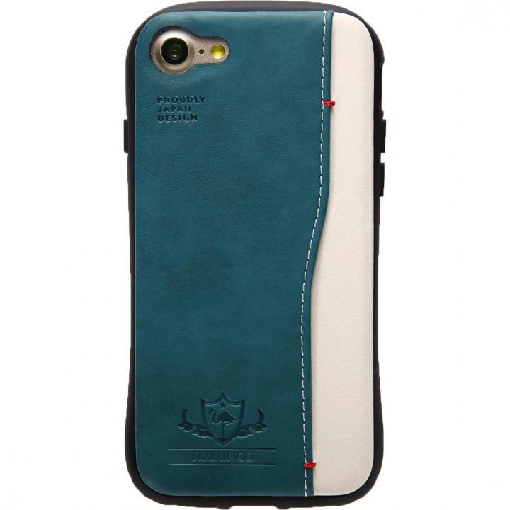衝撃吸収 背面カードポケット付きケース  FLAMINGO ターコイズ iPhone 7