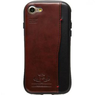 衝撃吸収 背面カードポケット付きケース  FLAMINGO ブラウン iPhone 7