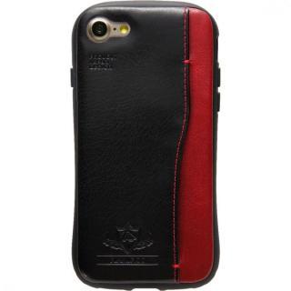 衝撃吸収 背面カードポケット付きケース  FLAMINGO ブラック iPhone 7