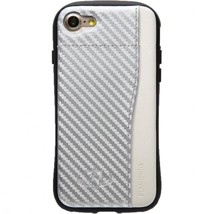 衝撃吸収 背面カードポケット付きケース  FLAMINGO カーボン調 シルバー/ホワイト iPhone 8/7