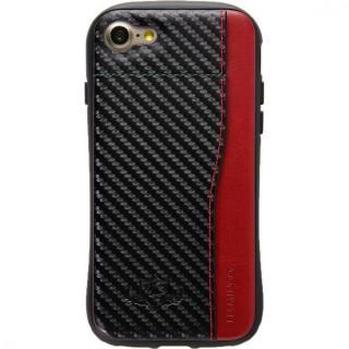 衝撃吸収 背面カードポケット付きケース  FLAMINGO カーボン調 ブラック/レッド iPhone 8/7