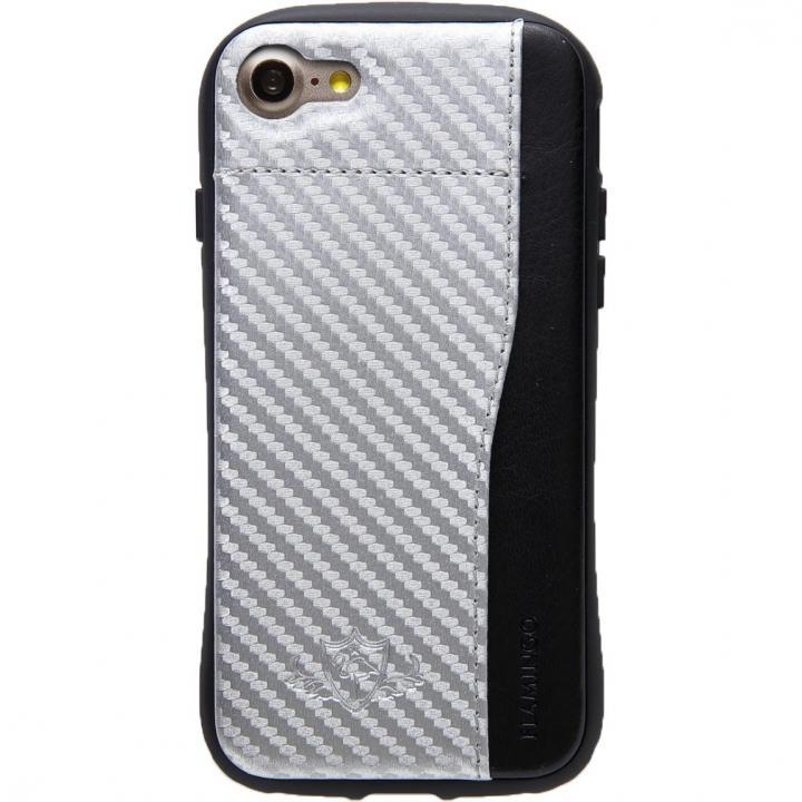 衝撃吸収 背面カードポケット付きケース  FLAMINGO カーボン調 シルバー/ブラック iPhone 8/7
