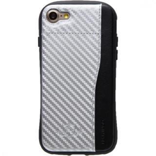 【iPhone8/7ケース】衝撃吸収 背面カードポケット付きケース  FLAMINGO カーボン調 シルバー/ブラック iPhone 8/7
