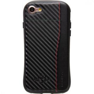 衝撃吸収 背面カードポケット付きケース  FLAMINGO カーボン調 ブラック/ブラック iPhone 8/7