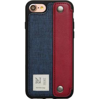 衝撃吸収 背面カードポケット付きケース CAMPANELLA ネイビー/横入れ iPhone 7