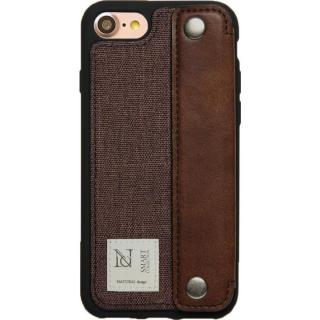 衝撃吸収 背面カードポケット付きケース CAMPANELLA ブラウン/横入れ iPhone 7