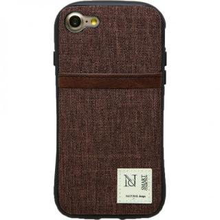 衝撃吸収 背面カードポケット付きケース CAMPANELLA ブラウン/縦入れ iPhone 7