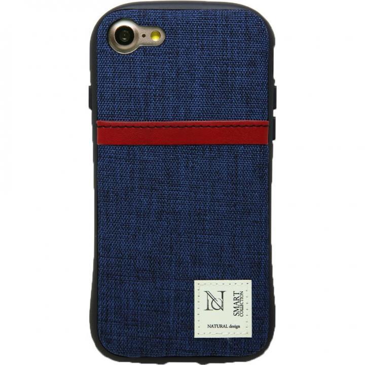 衝撃吸収 背面カードポケット付きケース CAMPANELLA ネイビー/縦入れ iPhone 7