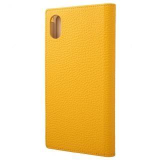 iPhone XS Max ケース GRAMAS German Shrunken-calf Genuine Leather Book Case イエロー iPhone XS Max