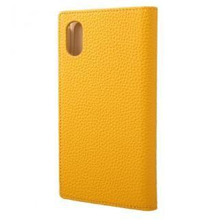 iPhone XS/X ケース GRAMAS German Shrunken-calf Genuine Leather Book Case イエロー iPhone XS/X