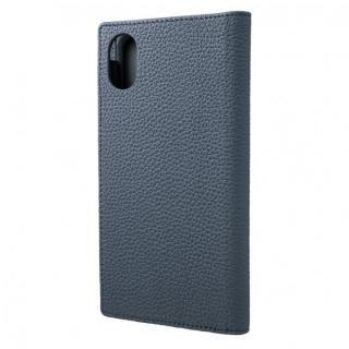 iPhone XR ケース GRAMAS German Shrunken-calf Genuine Leather Book Case ネイビー iPhone XR