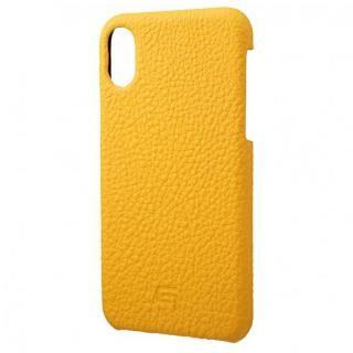 iPhone XS/X ケース GRAMAS German Shrunken-calf Genuine Leather Shell Case イエロー iPhone XS/X