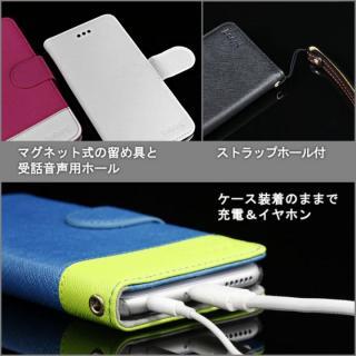 【iPhone6ケース】kuboq 合皮手帳型ケース ツートーン ブルー/グリーン iPhone 6ケース_5