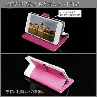 【iPhone6ケース】kuboq 合皮手帳型ケース ツートーン  ピンク/ホワイト iPhone 6ケース_2
