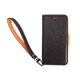 【iPhone XS/Xケース】Corallo NU 手帳型ケース ブラック+オレンジ iPhone XS/X