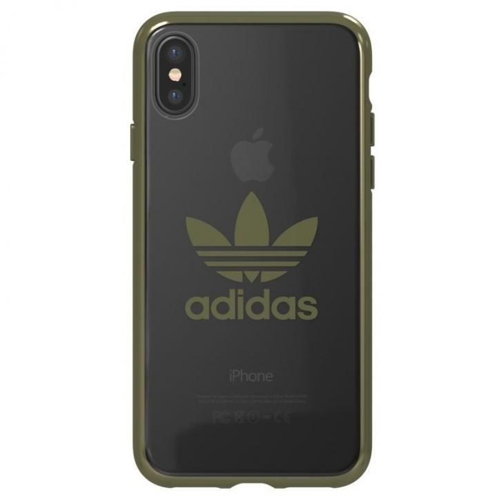 【iPhone XS/Xケース】adidas Originals クリアケース ミリタリー グリーン ロゴ iPhone XS/X【12月下旬】_0