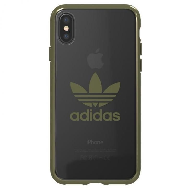 adidas Originals クリアケース ミリタリー グリーン ロゴ iPhone XS/X