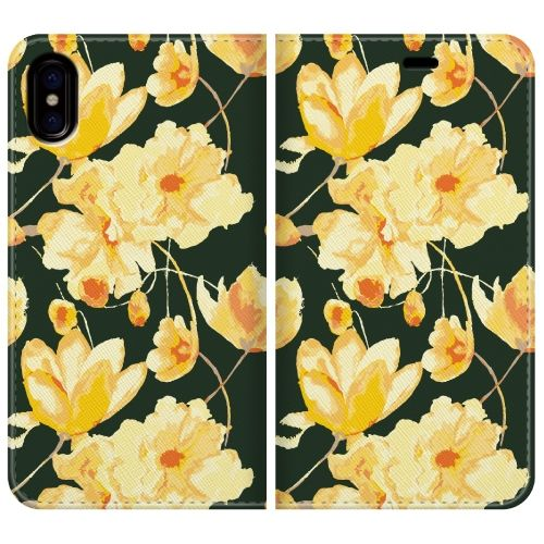手帳型ケース flower shower iPhone X