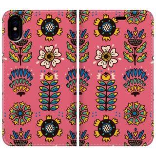 手帳型ケース nordic flower iPhone X