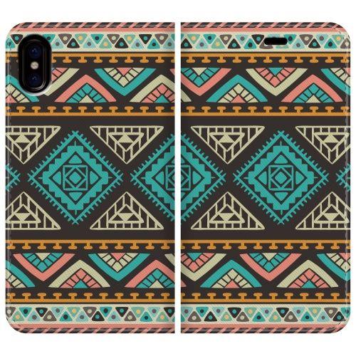 iPhone X ケース 手帳型ケース Indian pattern iPhone X_0