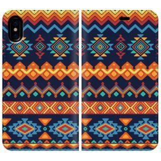 手帳型ケース Ethnic pattern iPhone X【10月下旬】