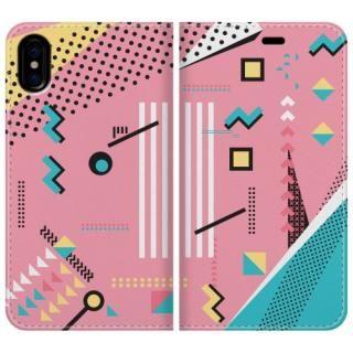 手帳型ケース Retro Geometry iPhone X