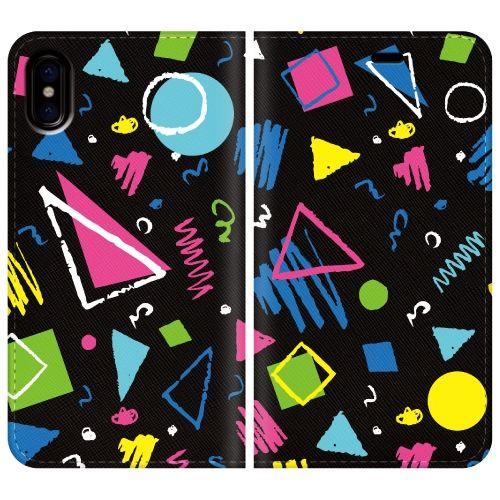 iPhone X ケース 手帳型ケース colorful Geometry iPhone X_0